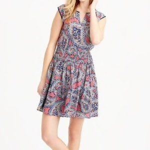 J. Crew Silk Smocked Waist Sleeveless Dress 0